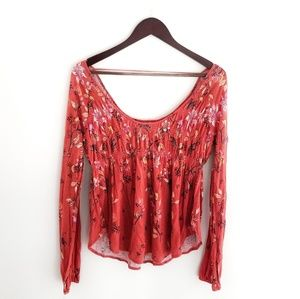 Free People Autumn Flowers Open Back Top